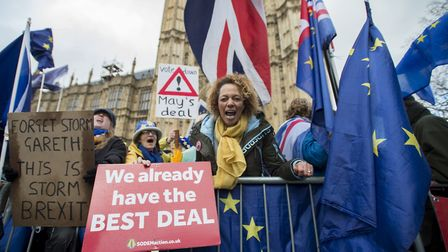 Anti-Brexit supporters out in force outside the House of Commons in Westminster. Photograph: David Mirzoeff/PA Wire