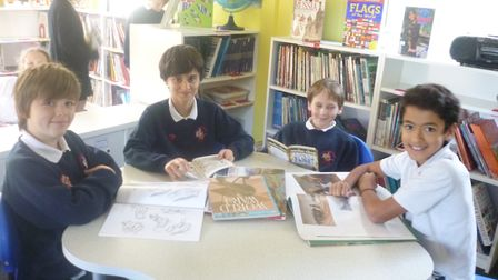 Pupils enjoying the new-look library.