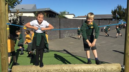 Trinity Primary School's new playground equipment has proved popular with pupils.