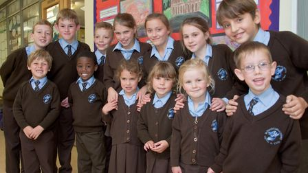 Yr 6 pupils with their Reception Class Buddies at St Francis Primary School. Picture: MARK ATHERT
