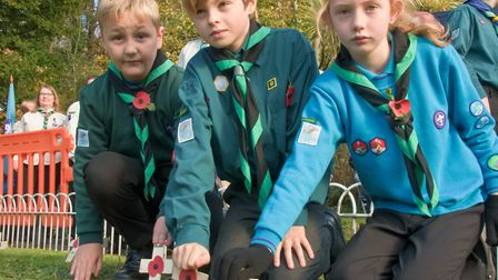 Children planted poppies on crosses to mark each fallen soldier. Picture: MARK ATHERTON