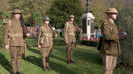 People dressed up as World War One soldier for the remembrance event. Picture: MARK ATHERTON
