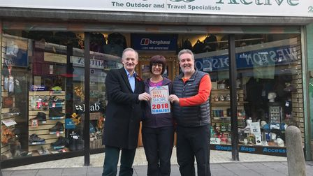 John Penrose MP with Julie and Paul Batts of Outdoors & Active.