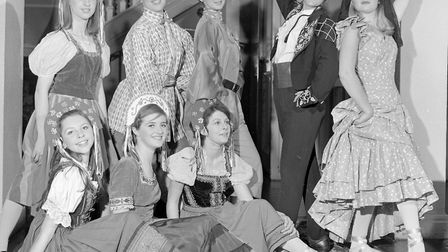 """The dancers in costume for the ballet interlude in Weston Operatic Society's production of """"Die Fled"""