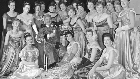 """Edward Deal, as Alfred, with ladies of the chorus in Weston Operatic Society's production of """"Die Fl"""