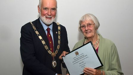 Cllr Nigel Taylor, Somerset County Council chair, presented Betty with the award. Picture: Sub