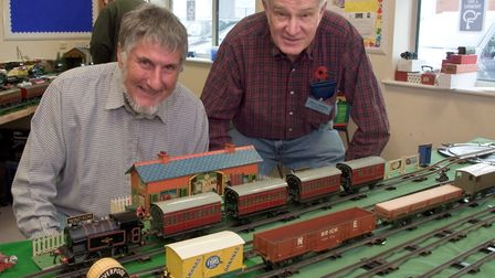Vintage Hornby Train Show, David Temple and David Bailey (from the wind-up merchants) with their 'O'