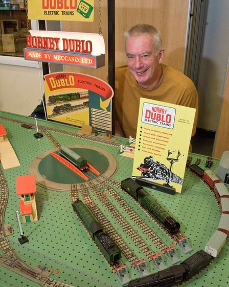 Vintage Hornby Train Show, Tony Grey with his rare 1950's shop display for Hornby. Picture: MARK