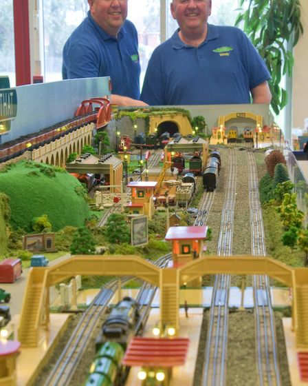 Vintage Hornby Train Show, Andy and Windy Miller with their 'OO' gauge electric layout. Picture: