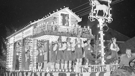 """A spectacular Carnival at Burnham and Highbridge. """"The White Horse Inn"""" a prize winning entry by the"""