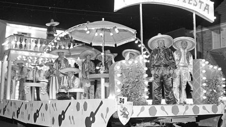 """A spectacular Carnival at Burnham and Highbridge. """"Mexican Fiesta"""" was entered by the Golden Lion Ca"""