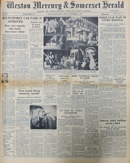 Front Page 15th November 1968 Edition. Picture: WESTON MERCURY