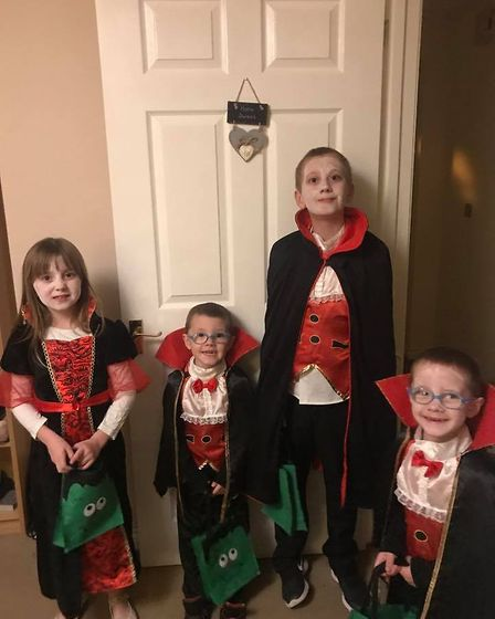 Four Draculas. Cameron, Megan, Oliver and Archie Wilcox.