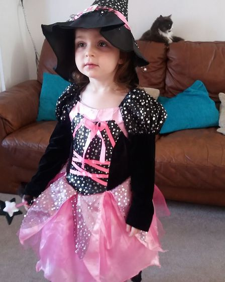 Two-year-old Isabella Stuff, trick or treating for the first time.