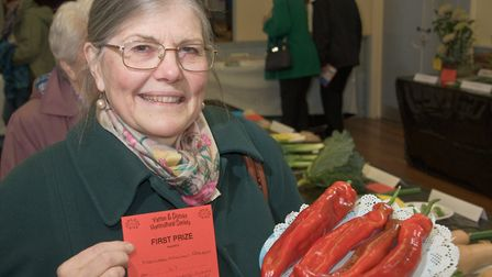 Merinda Naimi-Akbar with her display of peppers at Yatton Autumn Show. Picture: MARK ATHERTON