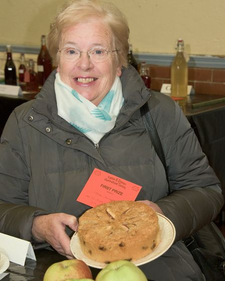 Jane Knight with her prize winning apple cake at Yatton Autumn Show. Picture: MARK ATHERTON