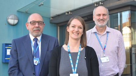 The trio outside New Court and Longton Grove Surgery. Picture: Eleanor Young