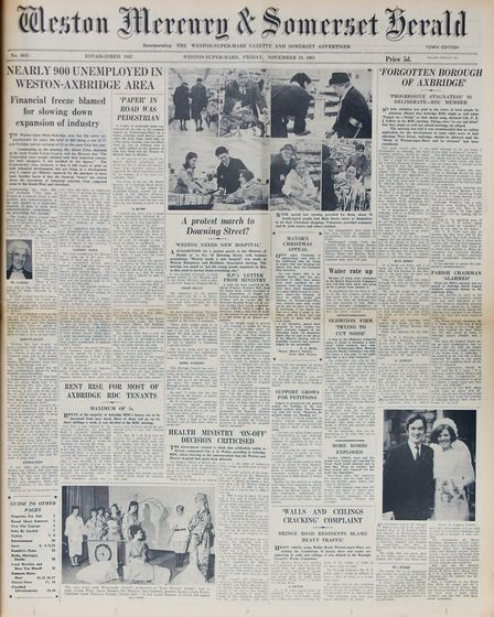 Front Page 29th November 1968 Edition. Picture: WESTON MERCURY
