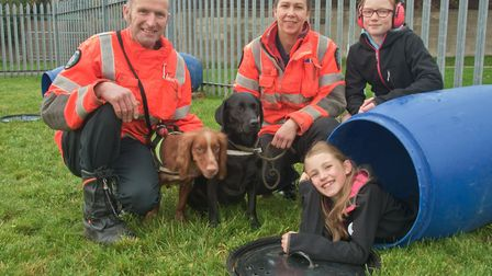 Weston Fire Station Open Day. USAR rescue dogs demo, Martin Tully with Buddy and Rachel King with Sa