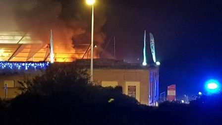 Flames were clearly visible from outside the Tropicana. Picture: Andy Sims.