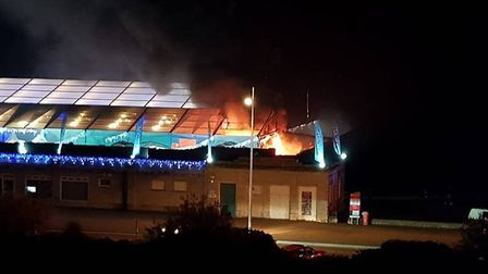 The fire at the Tropicana. Picture: Anita Wiegel Lloyd.