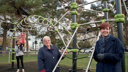 Town clerk Jo Duffy and Cllr Marilyn Koops with the new play equipment at Station Road. Picture:
