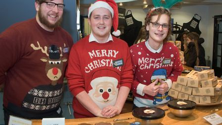 Cheddar Gorge Cheese Company staff at Cheddar Festive Night. Picture: MARK ATHERTON