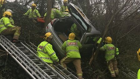 Elderly couple rescued after car leaves Bridgwater Road down grass verge. Picture: Avon Fire and Res