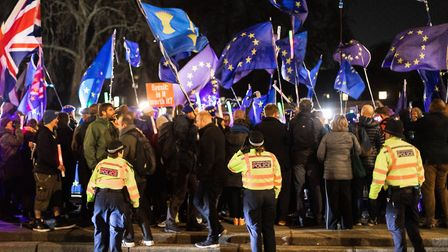 LONDON, ENGLAND - MARCH 12: Remain protesters around College Green on March 12, 2019 in London, Engl
