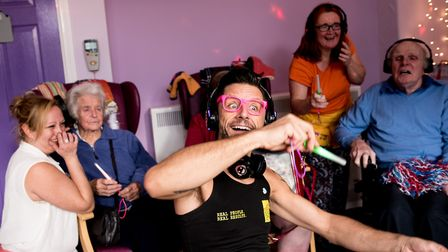 Mark Sweeting leading the silent disco.