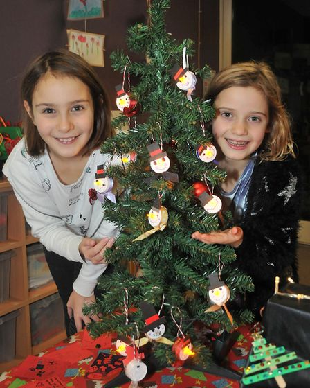 Shenay and Martha, both aged nine, selling their Christmas tree lights. Picture: Jeremy Long