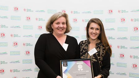 Liz Mapstone and Christin Hoffmann from North Somerset Council with their travel award.