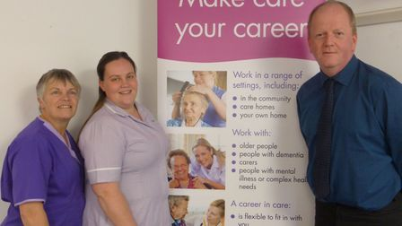 Karen, Leah and Gerald promoting the Proud To Care scheme.