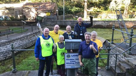 The Cheddar Vale Lions Club emptied the Wishing Pool in Cheddar Gorge. Picture: Cheddar Vale Lions C