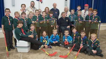 Ashcombe Beaver and Cub group showing Weston Lions John Britton and Colin Golding what they spent th