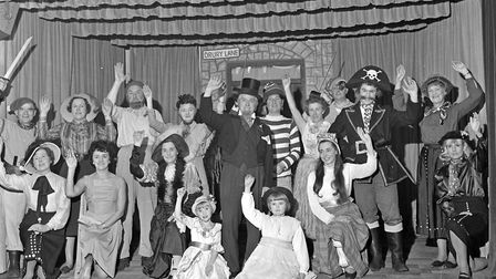"Members of Uphill WI, with husbands and friends, produced a burlesque melodrama, ""Ah, Cruel Fate."" a"