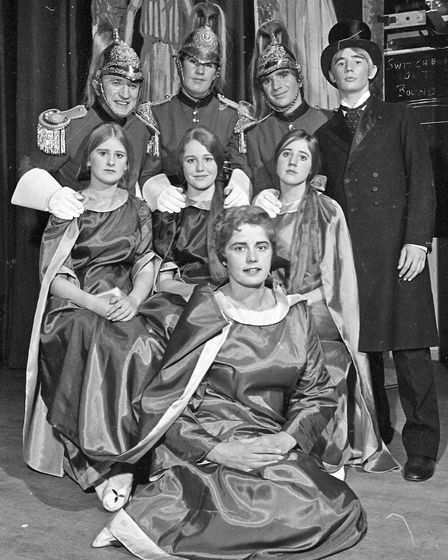 Jane (Ray Miell) with three rapturous maidens, the Dragoon officers and the solicitor in Churchill S