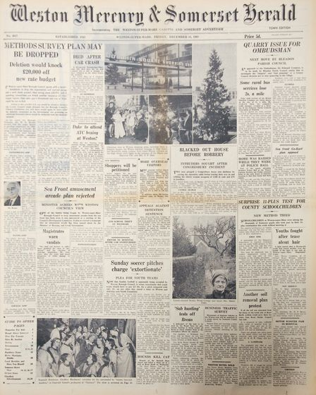 Front Page 13th December 1968 Edition. Picture: WESTON MERCURY