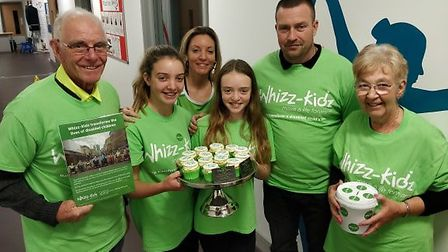 Emma and her family at the charity spin. Picture: Eleanor Young