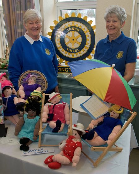 Wrington Vale Inner Wheel ladies Kate Arklay and Angela Jones with knitted gifts. Picture: MARK A