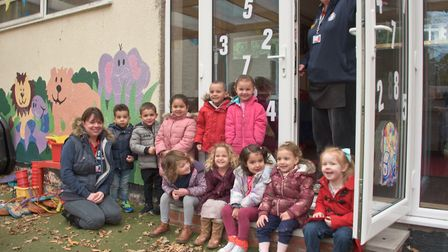 St Nicholas Church preschool, church hall, Uphill. Children in the play area with the new access to