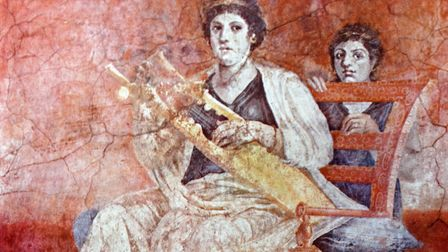 Roman wall painting titled 'Lady Musician and Young Girl' from a villa at Boscoreale. Picture: Unive