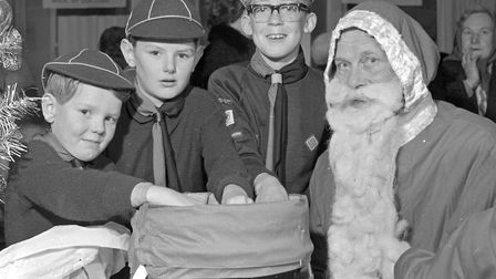 Weston Scout's Bazaar, Father Christmas with Stephen and Geoffrey King and Anthony Grey. Picture
