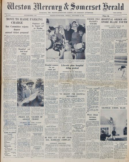 Front Page 22nd November 1968 Edition. Picture: WESTON MERCURY