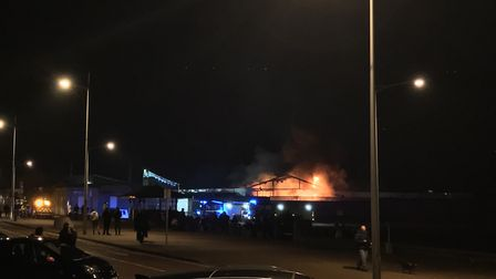 Flames could be seen coming from the Tropicana. Picture: Eddie Bugler.