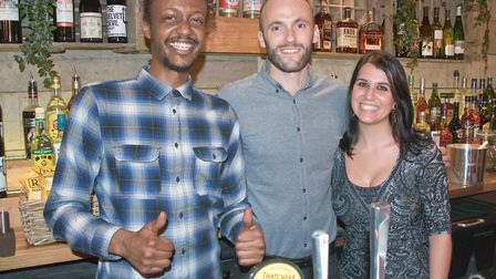 Yusuf Mohamd - bar supervisor, Tom Dabin - general manager and Pilar Amores deputy manager and event