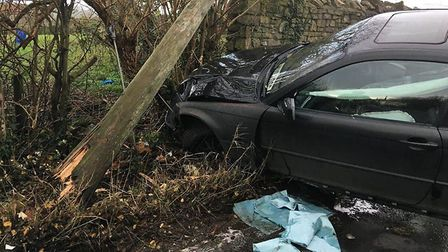 Damage caused to the car. Picture: Will Gwyn