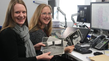 Archaeologist and conservation and heritage officer, Cat Lodge and Kate Hudson-McAulay, with the map