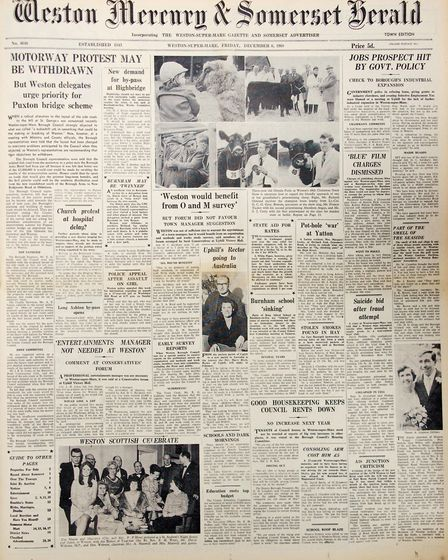 Front Page 6th December 1968 Edition. Picture: WESTON MERCURY