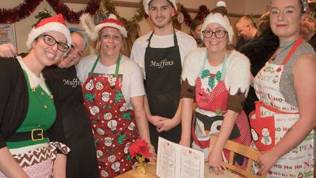 Staff at Muffins in festive costume at Worle Christmas fair. Picture: MARK ATHERTON